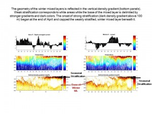 Time series of currents, temperature, and stratification
